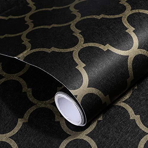 Papier de Contact Papier Peint Peel and Stick Noir et Or 38cmx5m Amovible Papier de Contact Auto-Adhésif Décoratif Papier Peint DIY pour Armoires de Salon d'étagère