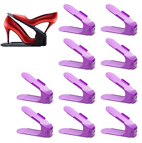 SulyCreations - Zapatero ajustable para ahorrar espacio, de plástico, duradero, 10 unidades Tiffany color morado