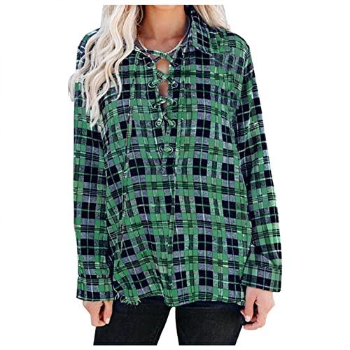 Blusas femininas da moda xadrez, de manga comprida, com cadarço, de botões, túnica, tamanhos grandes, Verde, XXG