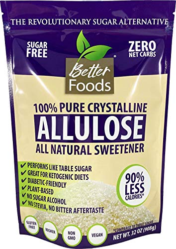 Allulose Non-GMO 32 oz 2 LBS Pure Crystalline Powder Sugar-Free Low Calorie Zero Net Carb Keto Diabetic Friendly Natural Sugar Replacement Sweetener No Sugar Alcohol Soy-Free Gluten-Free (1 Pack)