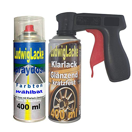 Ludwig Lacke Spray Set für Audi Silbergrau LD7V 400ml Lack+400ml Klarlack + Griff