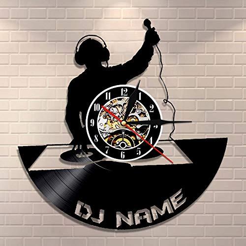 BFMBCHDJ Plattenspieler DJ Wandkunst Wanduhr DJ Schallplatte Wanduhr Personalisierte Namensuhr Nachtclub Retro Wanddekoration