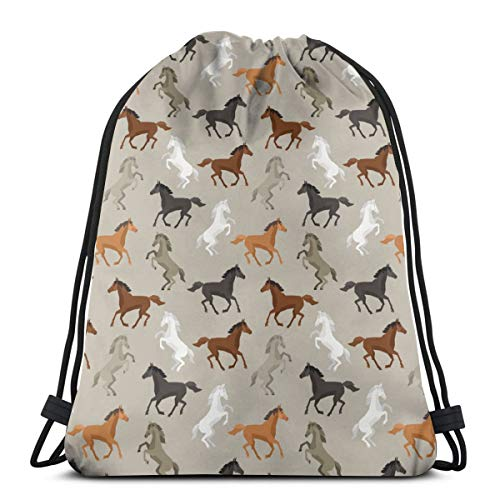 Cute Horse Drawstring Backpack Sports Gym String Bags for Women Men Children