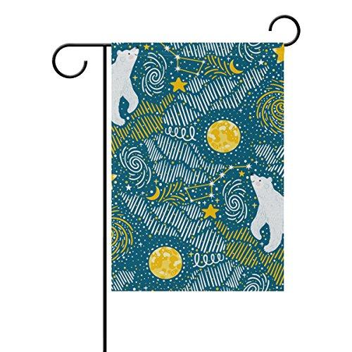 ALAZA Ursos Polares Estrelas da Lua Decorativa Bandeira de Jardim Dupla Face 30,48 x 45,72 cm