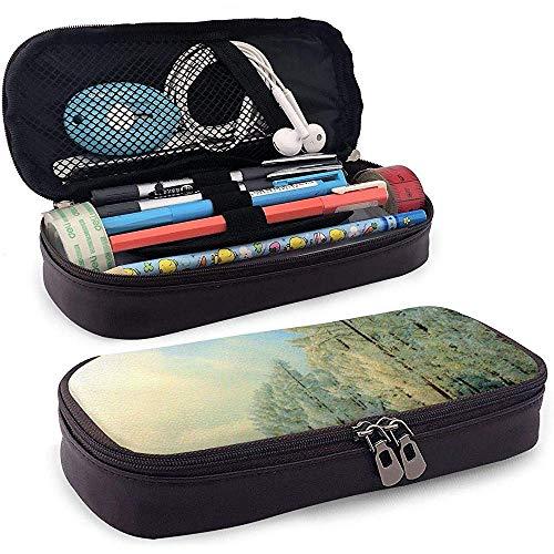 Étui à crayons en cuir Snow Nature Mountain, sac de maquillage de voyage, boîte à étuis