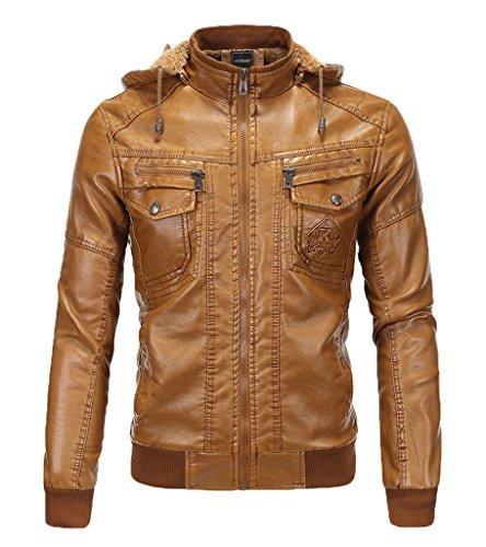 Jaqueta masculina WSLCN com capuz de couro sintético super macio com forro de veludo, Marrom, M