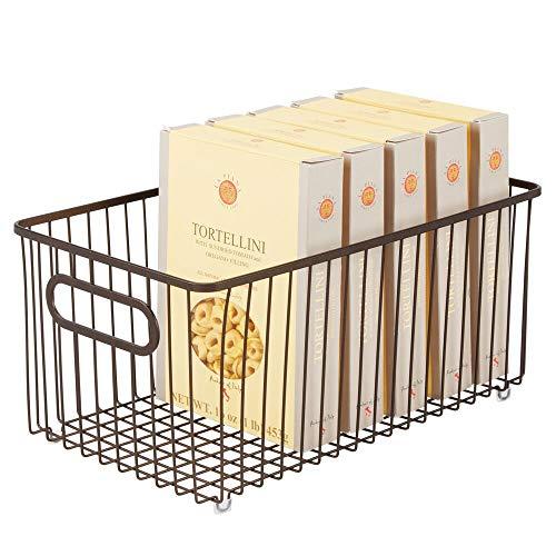 mDesign Cesto portaoggetti in metallo – Organizer versatile con manici – Contenitore universale ideale per cucina o bagno – bronzo