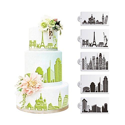 SEPTEMBER-EUROPE 5 plantillas de diseño arquitectónico para decoración de tartas, herramientas para hornear fondant, molde de malla de hielo, borde de flores, herramientas para hornear tartas