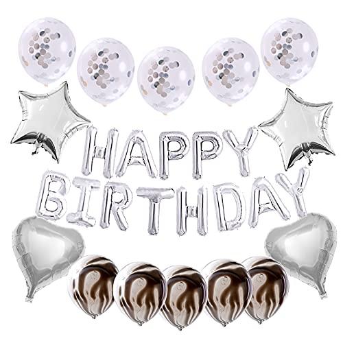 Decoraciones de Cumpleaños,Globos de Cumpleaños Niño Niña Globos Plata Cumpleaños Decoracion Happy Birthday Garland Globos Confeti Foil Globo Estrella Corazón