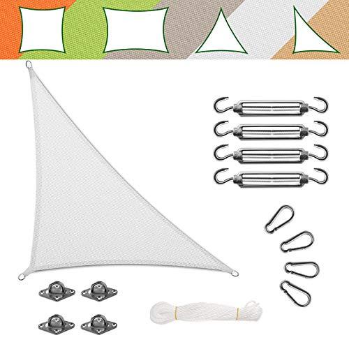 casa pura Voile d'Ombrage Triangulaire - Toile + Kit de Fixation Inclus   Toile Ombrage Imperméable   Voile Résistante Pluie/UV en 7 Tailles   Blanche - 5x5x7m + Accroche