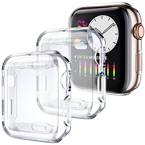 Dirrelo 3-Stück Hülle Kompatibel mit Apple Watch Series 3/2/1 42mm, Weiche Ultradünne TPU Schutzhülle mit Displayschutz 360°Vollschutz Case Kompatibel für iWatch 3/2/1, Klar+Klar+Klar