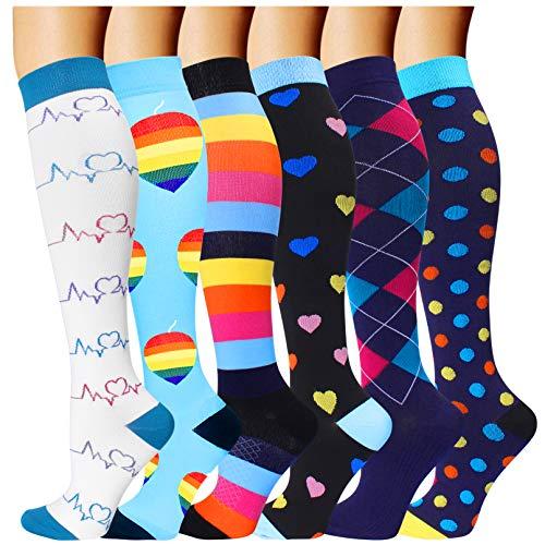 6 Pairs Compression Socks for Men and Women 20-30 mmHg Nursing Athletic Travel Flight Socks Shin Splints Knee High(Small/Medium)