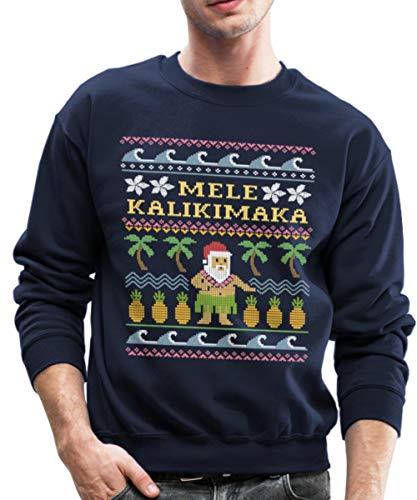 Mele Kalikimaka Hawaiian Santa Ugly Christmas Crewneck Sweatshirt, XL, Navy