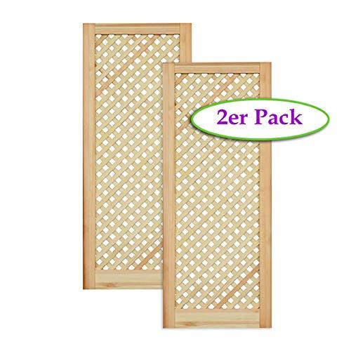 Gittertür Holztür natur 99,3 x 39,4 cm Schranktür Raumteiler Schiebetür für Regale, Schränke, Möbel | Kiefer Holz unbehandelt | Doppel-Paket 2-er Pack