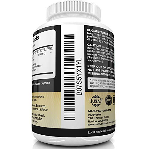 51FRTlk1T0L - Nutrivein Multi Collagen Pills 2250mg - 180 Collagen Capsules - Type I, II, III, V, X - Anti-Aging, Healthy Joints, Hair, Skin, Bones, Nails, Hydrolyzed Protein Collagen Peptides for Woman and Men
