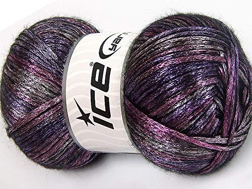 Glam Universe Pink, Black, Purple Variegated Metallic Sheen Fuzzy Nylon Wool Blend Yarn, 100 Grams, 250 Yards