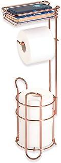 mDesign - Toiletrolhouder voor de badkamer - vrijstaand/met extra bergruimte voor 2 extra toiletrollen en handig schap/met...