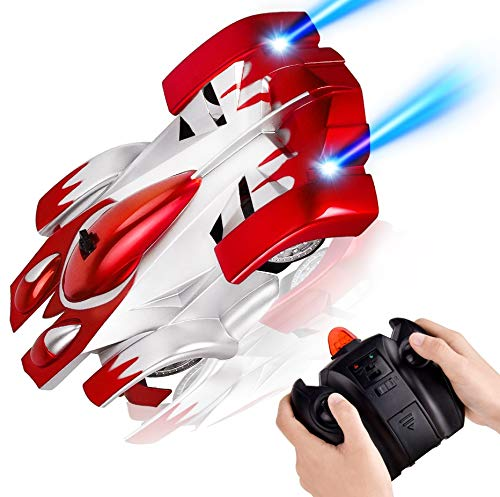 Rainbrace Remote Control Car, Gravity Defying RC Cars for Kids Wall Climbing High Speed RC Cars Rechargeable with 360 Degree Rotation Toy Cars Gifts - Red