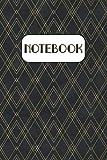 Notebook: Art Deco Diamond Pattern Ruled Black Notebook