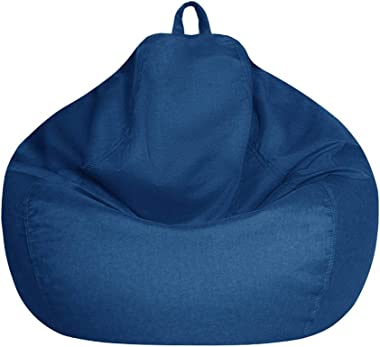 Bean Bag Chair Cover Only Without Filling - Extra Large, Stuffed Animal Storage&Memory Foam - Washable Premium Soft Cotto