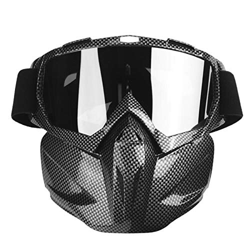 Gafas de moto Hombre Mujer Gafas de moto de nieve Esquí Snowboard Invierno Nieve A prueba de viento Máscara para exteriores Gafas de sol (Fibra de carbono Negro)Gafas de moto Hombre Mujer Gafas de mot