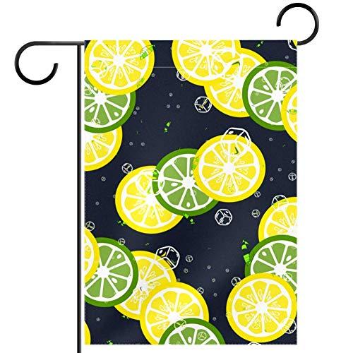 TIZORAX - Banderines de limón y cubitos de hielo para jardín, resistente al agua, decoración para el hogar, 12 x 18 pulgadas, tela, multicolor, 28x40in