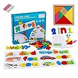 HVDHYY Puzzle en Bois Alphabet Lettre Tangram en Bois Jeux d'orthographe 2 en 1, ABC éducation de Base Montessori Puzzles Tangram 7 pièces , avec 28 Cartes de Mots Recto Verso 52 Lettres en Bois