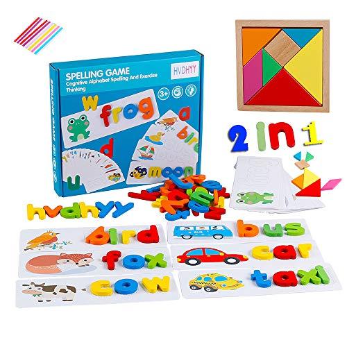 Alfabeto Rompecabezas de Madera Tangram Tetris Puzzle Montessori ABC Aprendizaje temprano Juguetes de Madera educativos con 28 Tarjetas de Palabras 52 Letras de Madera Rompecabezas 2en1