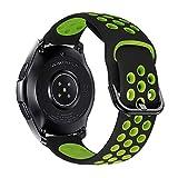 iBazal 22mm Correa Galaxy Watch 46mm Pulsera de Repuesto para Samsung Galaxy Watch 3 45mm/Gear S3 Frontier Classic, Huawei Watch GT/GT 2 46 mm, Ticwatch Pro/E2/C2 Banda de Silicona - Negro/Verde