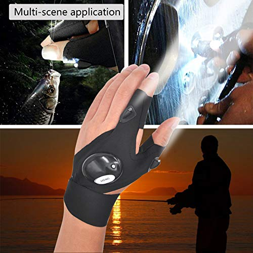 Product Image 4: LED Flashlight Glove Outdoor Fishing Gloves With Stretchy Strap Screwdriver for Repairing Cars Night Running Fishing Camping Hiking in Dark Place (1 Pair)