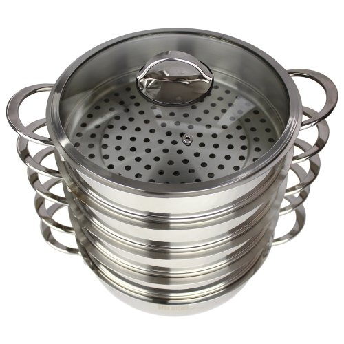 Megakitchen4you Dampfkocher 5,7 L 30cm mit Glasdeckel, Mantowarka