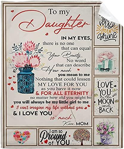 Manta con diseño de flor a mi hija de Mom Love You Throws, manta de franela suave de microfelpa para sofá, cama y sofá de 127 x 101 cm, póster para niño pequeño