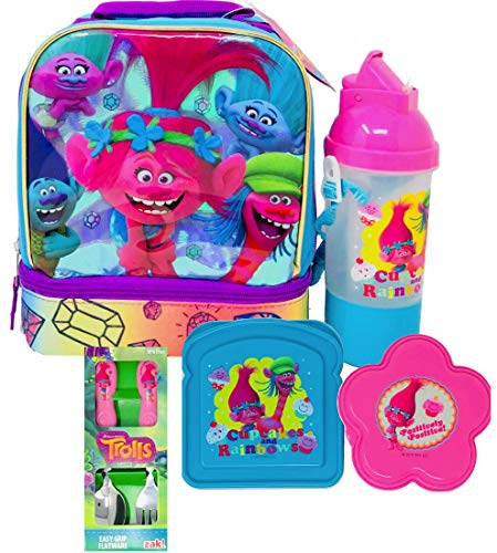 NEW Trolls Lunch Box Ultimate Lunch Kit Includes Trolls Water Bottle, Sandwich & Snack Container, Flatware