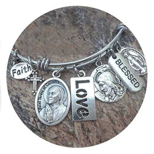 St. Teresa of Calcutta Bangle Bracelet, Patron Saint, Catholic Jewelry, Confirmation Gift, Mother Teresa, 4 Sizes Extra Small to Large
