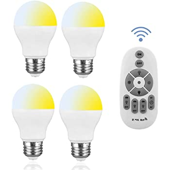 SenMeiGuang LED電球 6W 調光調色可能 リモコン操作 6W 60W形相当 タイマ 昼白色E26口金 2.4Gリモコン付き 遠隔操作可能 照明器具2700K-6500K 広配光タイプライト 対応天井シャンデリア/テーブルランプ/フロアランプ/玄関/4個セット