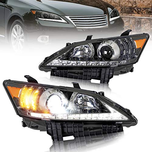 VLAND Projector LED Headlights Compatible with Lexus ES350 2010-2012 with Amber Reflector, Black Housing, Clear Lens, D2H/ H7/ 9005 Bulbs(Not Include)