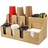 ShenMiDeTieChui Copa de la estación de café y Organizador de Tapa, 9 Compartimentos para servilletas, agitadores (Color : Natural)