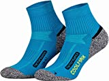 Piarini 2 Paar Coolmax Wandersocken Outdoorsocken Funktionssocken kurz - petrol