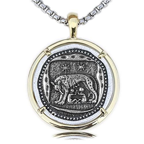 Aldevins&Granger Halskette Anhänger Kette Antike Münze Wölfin Halskette Medaillon Anhänger Spanferkel Wölfe Darstellung 4. Jahrhundert n. Chr. römischen Schmuck A419stylea