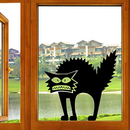 Zyunran Gato asustado pegatinas de Halloween calcomanía de vinilo animal etiqueta de la pared para habitaciones de niños decoración de la pared accesorios 29x30 cm