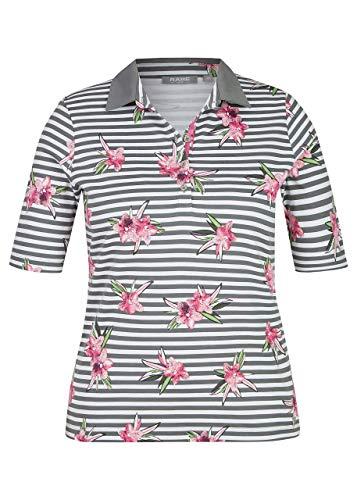 Rabe Damen Polo-Shirt mit Allover-Ringeln und Blumen-Print