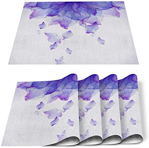 Lot de 4 Sets de Table, Aquarelle Mandala Violet Aquarelle Romantique PVC Tapis de Table résistant à la Chaleur Tapis de Cuisine Lavable antidérapant pour Table à Manger décor de Table de Banquet de