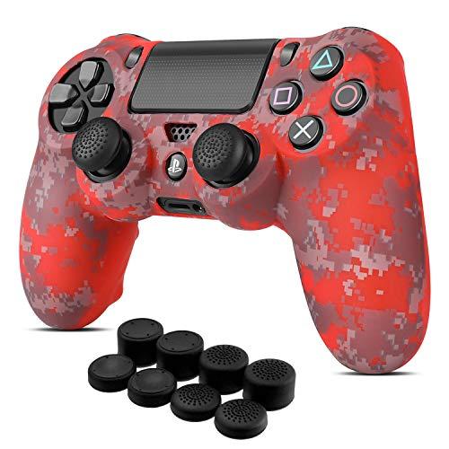 TNP Schutzhülle für PS4 / Slim / Pro Controller, griffig, weiche Silikon-Gel-Gummischale und rutschfeste Daumenstick-Kappen für Sony PlayStation 4 Controller, Gamepad (Camo Mosaic Red)