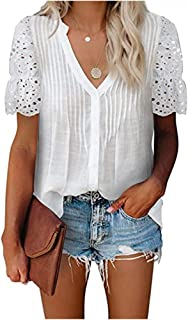 XWLY Women Short Sleeve Chiffon Shirt Simplicity Fashion Summer V Neck Solid Color Women T-Shirts Exquisite Sleeves Hollow...