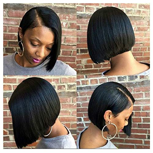 """Human Hair Lace Front Wigs Short Bob Wigs for Black Women 8"""" Straight Hair 150 Density Brazilian Virgin Human Hair Pre-plucked with Baby Hair 13x4 Lace Frontal Wigs"""