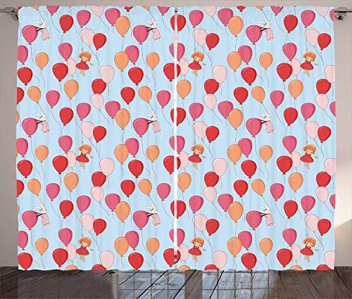 ABAKUHAUS Baby Gordijnen, Bunny Meisje en Ballons, Woonkamer Slaapkamer Raamgordijnen 2-delige set, 280 x 175 cm, Veelkleurig