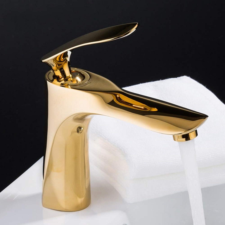 Mzdpp Single Handle Basin Faucets Mixer Waterfall Faucet Luxury golden Basin Mixer Water Saving Hot and Cold Water Sink Tap