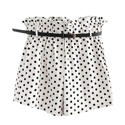 WOZOW Shorts Kurze Hose Damen Casual Polka Dots Print Bedrucktes Druck Lose High Waist A Line Mini Freizeithose Stoffhose Rüschen Mode Arbeitskleidung Trousers (L,Weiß)