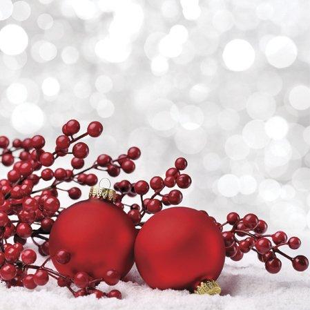 20 Servietten Weihnachtskugeln im Schnee / Kugeln / Winter / Weihnachten 33x33cm