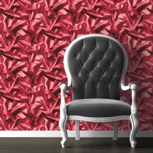 Pink-Red - F72910- 3D Gathered Silk Effect - Crushed Velvet - Muriva Wallpaper by UGEPA